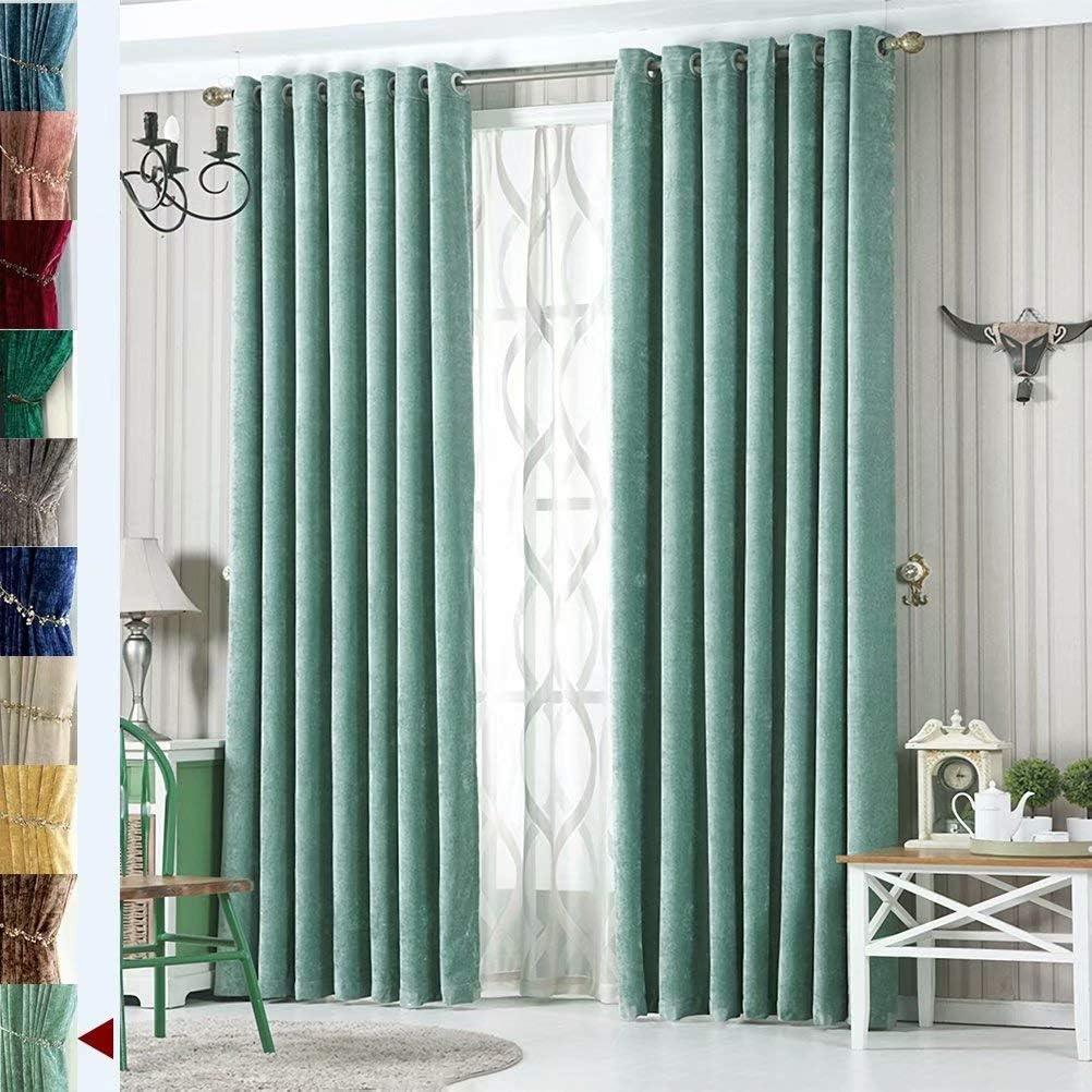 MacoHome 特売 Aquamarine Velvet バーゲンセール Panels Extra Dar Room Wide Customized