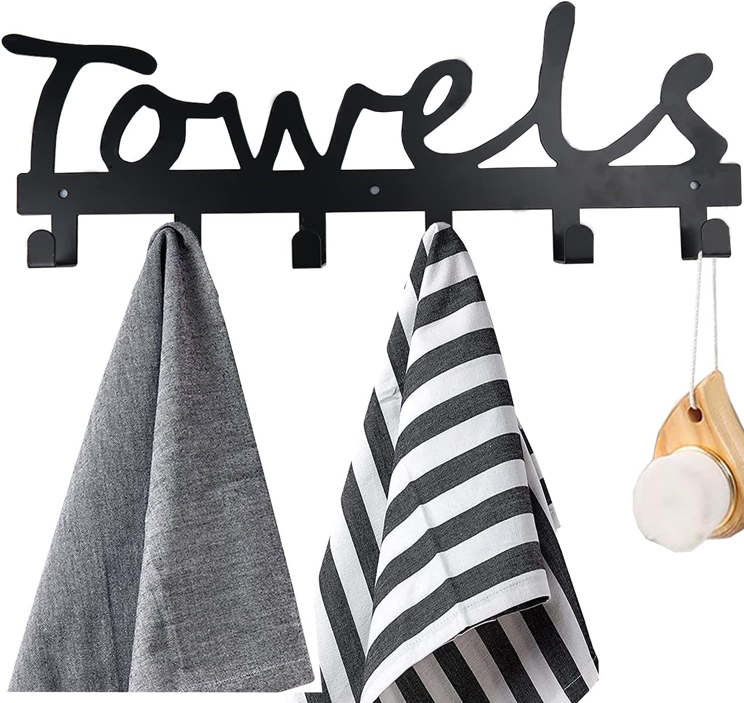 trend rank 25% OFF Towel Rack 6 Hooks Holder Bathroom Rustproof for and Water