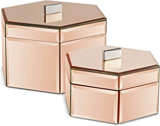 Beautify Large Octagon Mirrored Rose Gold Glass Jewelry Box Trinket Boxes Desk Organizers for Jewelry and Accessories Rose Gold