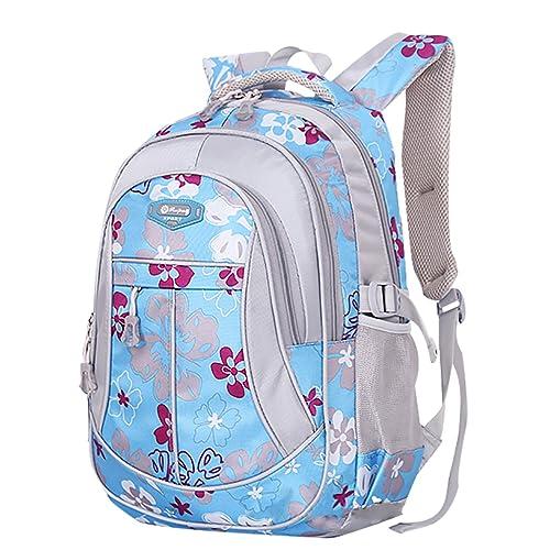 99c4498d6e SellerFun Girl Flower Printed Primary Junior High University School Bag  Bookbag Backpack(Blue