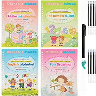 Magic Practice copybook for kids - [UPGRADED SIZE] - 4pcs of Reusable early learning magic copybook for kids - cursive han...