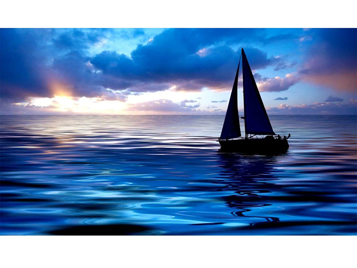 Mobicus Blxecky 5D DIY Diamond Painting ,By Number Kits Crafts & Sewing Cross Stitch,Wall stickers for living room decoration,sailboat(35X40CM/14X16inch)