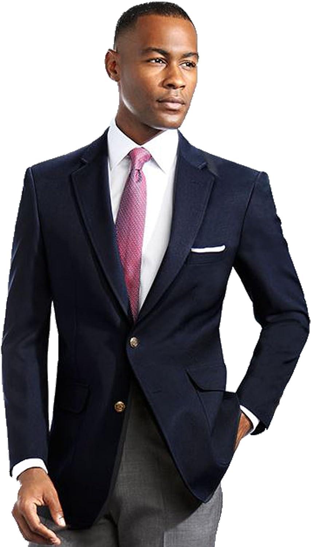 Men's Elegant Modern 2 Button Notch Lapel Blazer - Many Colors (56 X-Long, Navy)