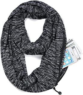 Lanmei Infinity Scarf with Hidden Zipper Pocket for Women Girls - Soft Stretchy Convertible Pocket Scarf