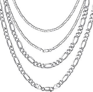 ChainsHouse 3-13mm Figaro Chain Necklace Stainless Steel/18K Gold Plated Figaro Link Chain for Men Women, 18
