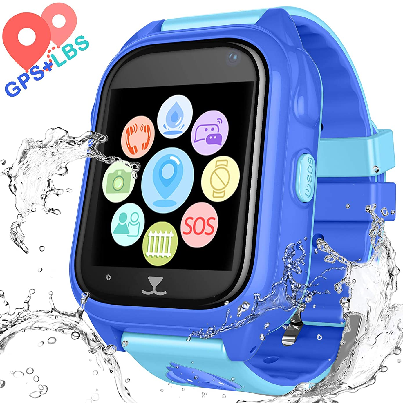 Kids Waterproof Smart Watch Phone - Children Water Resistant GPS Tracker Watch with Call Talkie Walkie Games Sports Wristband for Boys Girls (Blue)