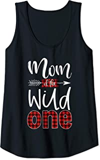 Womens Mom of the Wild One Buffalo Plaid Lumberjack 1st Birthday Tank Top