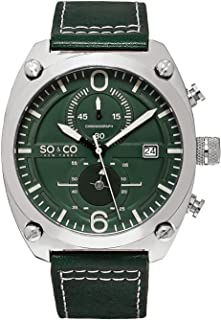 So&Co New York Monticello Men's Green Dial Leather Band Watch - 5285.3, Analog Display