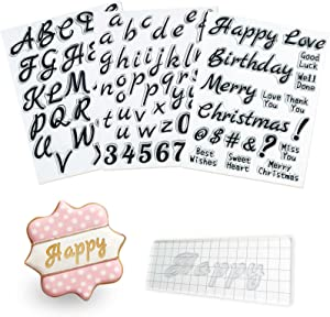 4 PCS Alphabet Letter Fondant Stamps for Biscuit Cake Cookie, Upgraded Food Grade Alphabet Cake Stamp Tool Uppercase Extra Spare Lowercase Numbers Phrases for Christmas Party Reusable Cookie Stamp