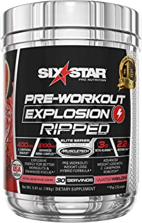 Pre Workout + Weight Loss Formula | Six Star Preworkout Explosion Ripped | Pre-Workout Powder for Men & Women | Great for Cardio Training | Caffeine Powder Energy Supplement | Watermelon, 30 Servings