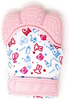 My Mini Mitt | Teething Mitten | Soothing Gum Relief Toy Glove & Teether for Babies, Infants, Toddlers, Boy & Girl | 3-12 Months | Baby Shower Gift + BONUS Storage Pouch (Pink)