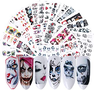 Halloween Nail Stickers Day of the Dead Water Transfer Nail Decals 25 Sheets Skull Ghost Eye Hulk Clown Witch Nail Art Stickers Halloween Party Supply Favors Nail Tips Charms Decoration