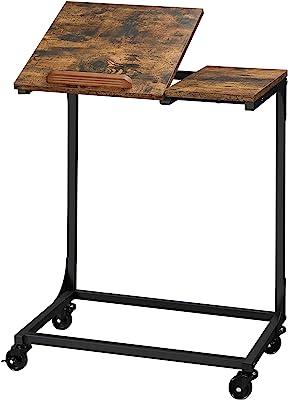 VASAGLE Table Mobile, Bureaud'étude, Table pour Ordinateur Portable, Dessus inclinable, Cadre en Acier,Salon, Montage Facile, Marron Rustique et Noir LET352B01