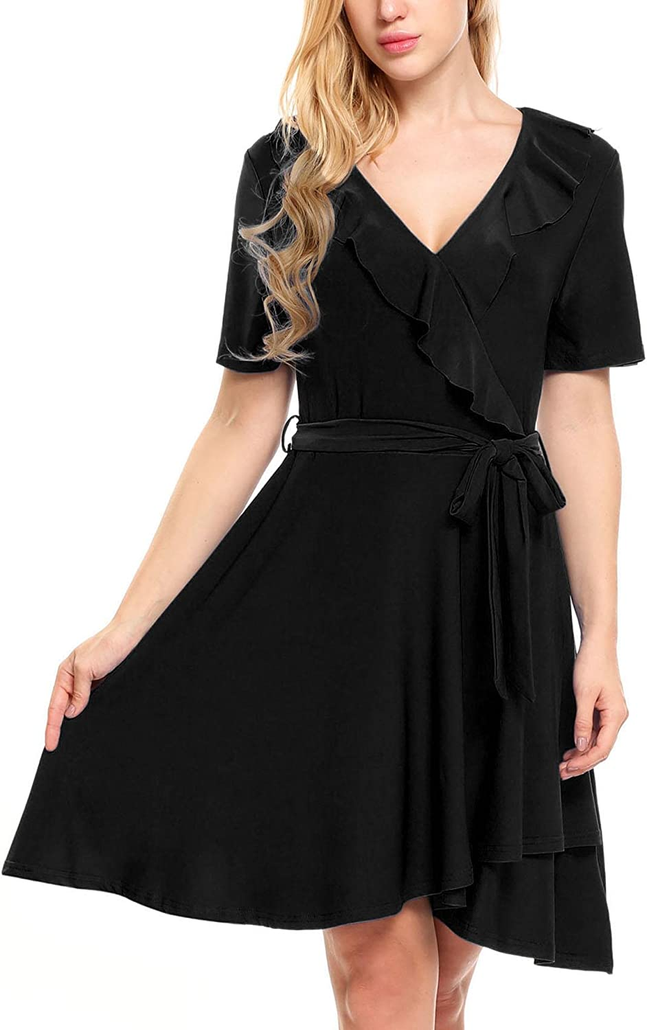BEAUTYTALK Women's Casual V Neck Short Sleeve A Line Dress