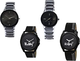 Nikola Hubby and Wife Valentine's Day Couple Analogue Black Color Dial Girls Watch - B68-G207-BL46.31-GL234 (Pack of 4)