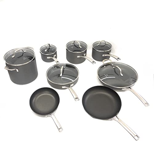 2021 Calphalon Classic Nonstick 14 Piece Pots and outlet online sale Pans Cookware Set With BPA free No-Boil-Over Inserts Stay Cool Metal new arrival Handles Glass Lids outlet online sale