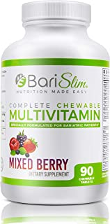 BariSlim Complete Chewable Bariatric Multivitamin - 45 mg of Iron - Chewable Bariatric Vitamin and Supplement for Post Bar...