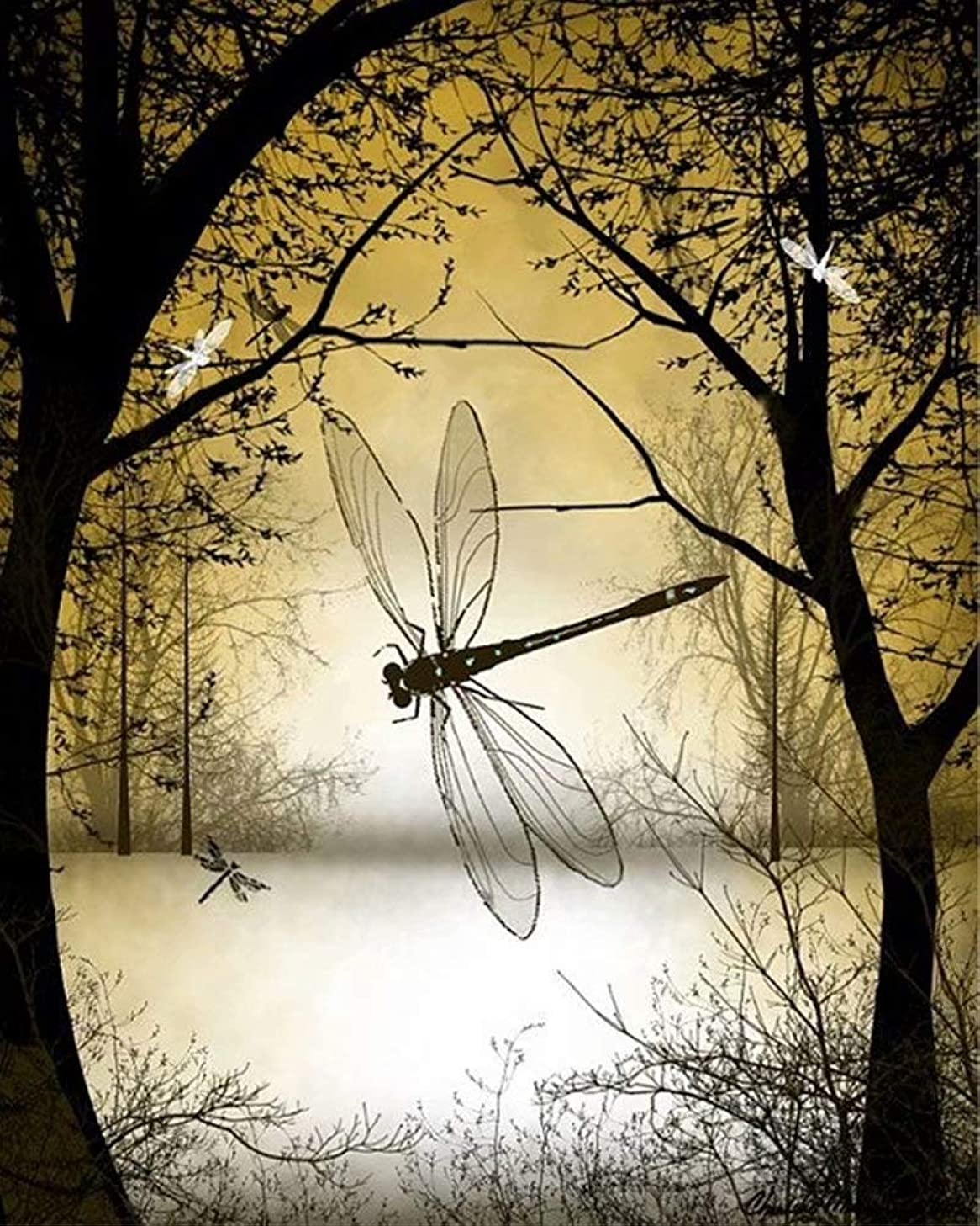 DIY 5D Diamond Painting Kit for Adults Children, NYEBS DIY Painting with Diamonds Animal Full Square Drill Forest Dragonfly Rhinestone Embroidery Arts Craft Supply for Wall Decoration 12X16 inches