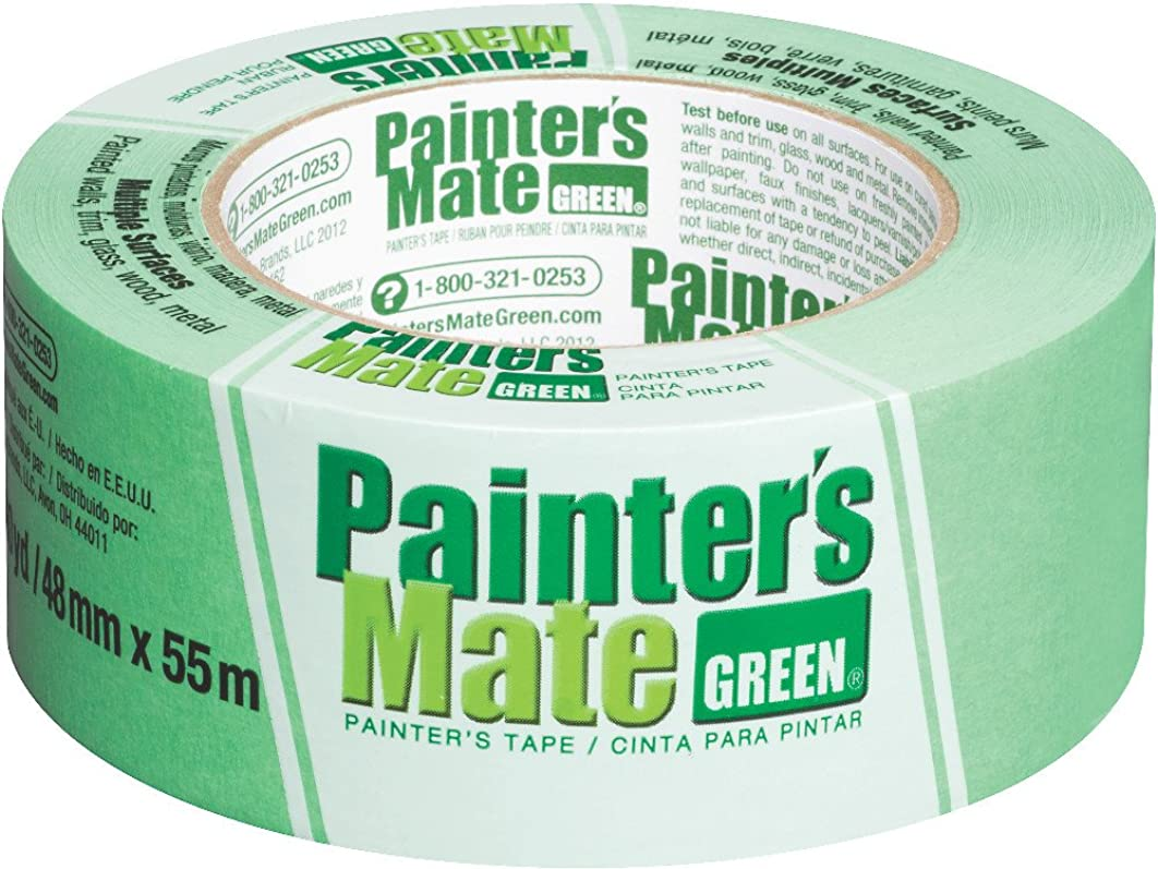 Painter's Mate Green Brand CP 150/8-Day Painter's Tape, Multi-Surface, 48mm x 55m, Green, 1 Roll (103365)