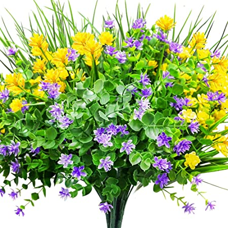 CEWOR 9pcs Artificial Flowers Outdoor UV Resistant Shrubs Plants for Hanging Planter Home Wedding Porch Window Decor(Yellow, Purple, Green)