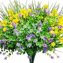 CEWOR 9pcs Artificial Flowers Outdoor UV Resistant Shrubs Plants for Hanging Planter Home Wedding Porch Window Decor(Yello...