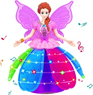 Dancing Robot for Girls Rotate Walk Electric Princess Dolls LED Projection Butterfly Wings Fairy Music Box Girl Festival B...
