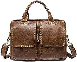 Genuine Leather Mens Bags Tote Men's Briefcase Laptop 14'' Messenger Bag Men's shoulder bag