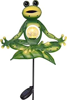 TERESA'S COLLECTIONS 35 inch Sitting Yoga Frog Garden Decor,Frog Garden Solar Lights Stakes with Crackle Glass Ball for Ou...