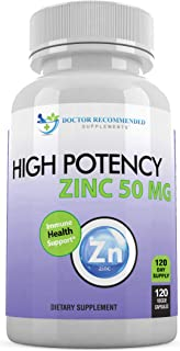 Zinc 50mg - Zinc Picolinate Immune Health Support Supplement 120 Veggie Capsules for Adults and...