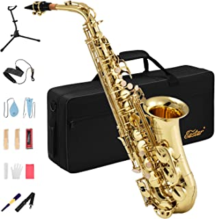 Eastar AS-Ⅱ Student Alto Saxophone E Flat Gold Lacquer Alto Beginner Sax Full Kit With..