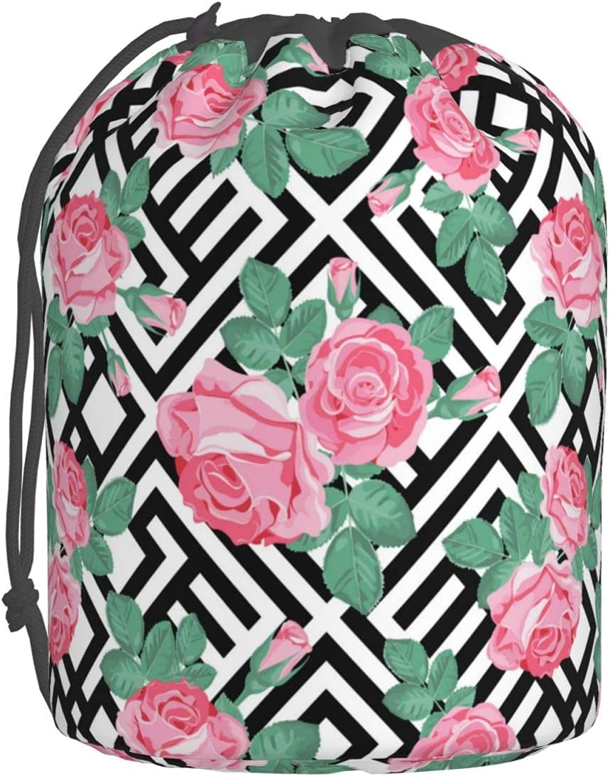 Pink Roses Selling rankings With Leaves Drawstring Bag Makeup Organizer Cosmetic Max 58% OFF