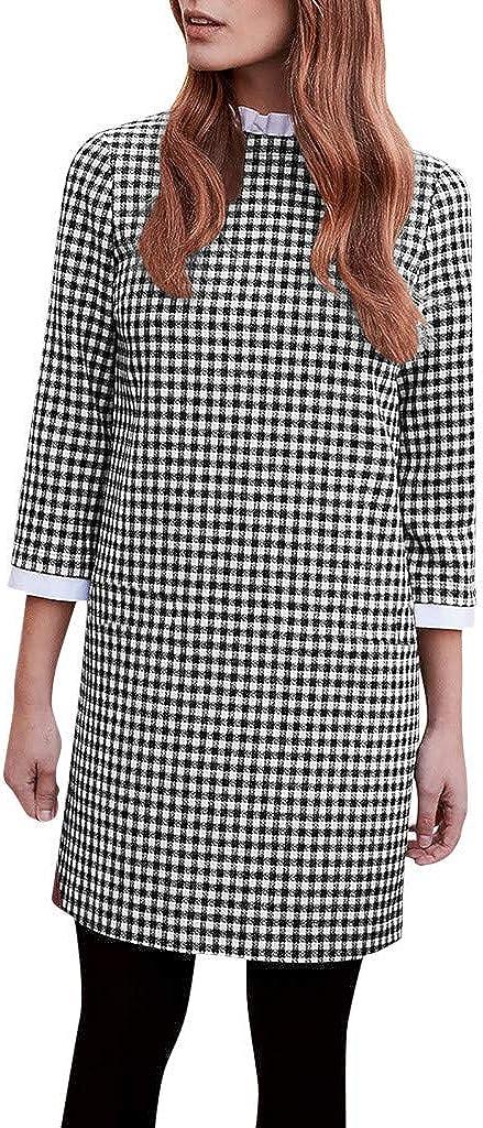 3/4 Sleeve Ruffle Turtleneck Mini Dress Women Casual Plaid Print Dress