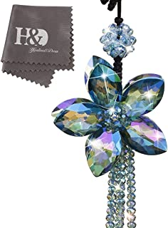H&D Crystal Color Flower Interior Accessories Car Charms Pendants For Auto Rear View Mirror Hanging Decoration with Tassel