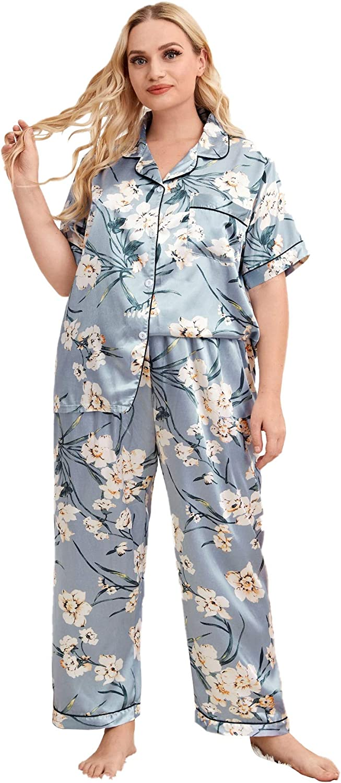 Milumia Women's Plus Size Satin Pajama Set Floral Printed Short Sleeve Loungewear