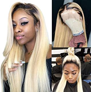 Ombre Blonde 613 Lace Wigs Real Human Hair 2 Tone 1B/613 Lace Front Wigs Slightly Bleached Knots 150% Density Straight Lace Frontal Wigs Pre Plucked with Baby Hair Long 20 Inch