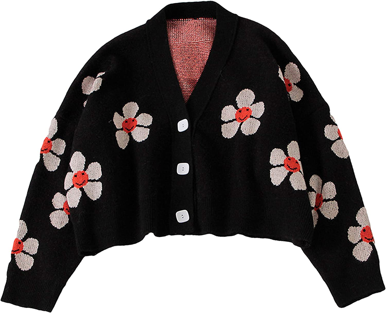Uaneo Womens Knit Floral Print V Neck Button Front Cropped Cardigan Sweaters(Black-One Size)