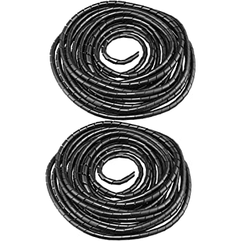 uxcell Spiral Wire Wrap Cable Wrap Cord 3//8-inch x 2m Black PE Polyethylene Tubing for Computer Cable