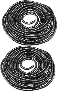uxcell スパイラルチューブ フレキシブル ケーブルワイヤラップ コンピュータ管理コード 直径10mm 8-10M ブラック 2個入り