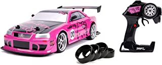 Jada Toys Hello Kitty Nissan Skyline GT-R (Bnr34) Drift Power Slide Elite R/C, USB Charging, with 4 Extra Tires, Pink