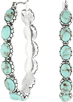 Oblong Turquoise Inlay Hoop Earring