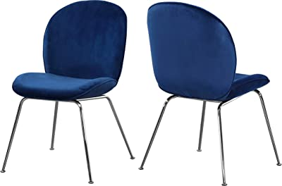 Amazon Com Meridian Furniture Paris Collection Modern Contemporary Velvet Upholstered Dining Chair With Polished Chrome Metal Legs Set Of 2 Navy 19 5 W X 25 D X 34 5 H Chairs
