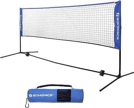 SONGMICS Badmintonnetz Tennisnetz Höhenverstellbar Federballnetz mit Ständer