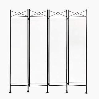 comprar comparacion Todeco - Biombo, Divisor de Habitaciones - Panel: 100% Poliéster - Número de paneles: 4 - 180 x 160 cm, Blanco