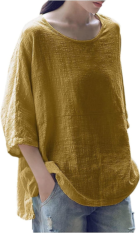 wodceeke Women Three Quarter Sleeve Top, Summer Cotton Crewneck Tshirts Side Split Tee Tops Plus Size Loose T-Shirt