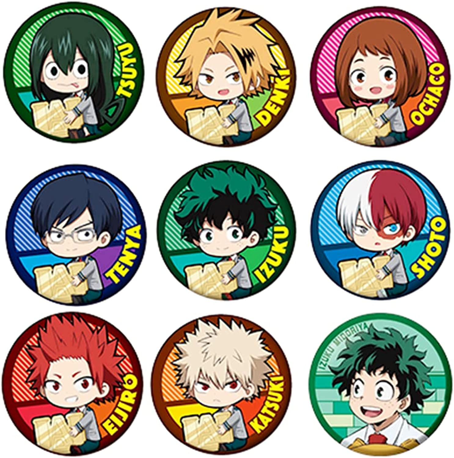 9pcs My Hero Academia Badge,Cosplay Button Pins Brooch Collections For Clothes Hat Backpack Decoration