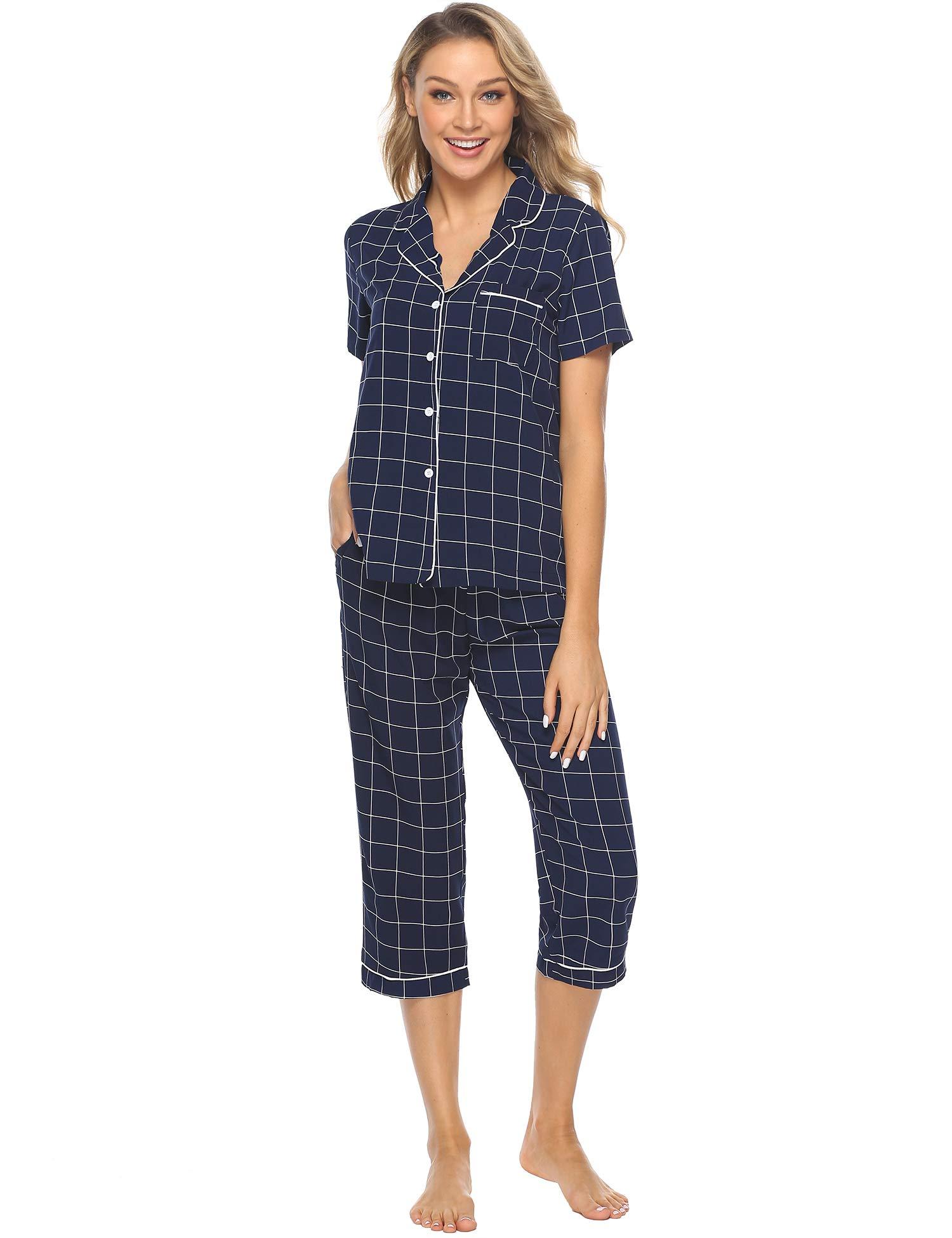 Pyjama Femme Ete Ensemble de Pyjama Carreaux en Coton Doux et Confortable Manches 3/4 Vêtements d'Intérieur Femme