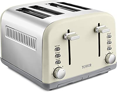 Tower T20042PEB 4 Slice Toaster, Infinity Stone Collection, Stainless Steel Body, 1800 W, Pebble