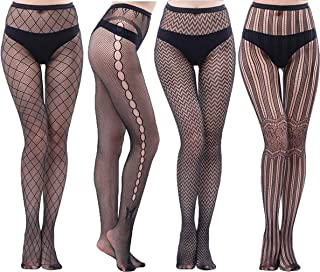 """CozyWow Women""""s High Waist Fishnet Tights Partterned Fishnets Thigh High Stockings 2/3/4/6 Pairs"""