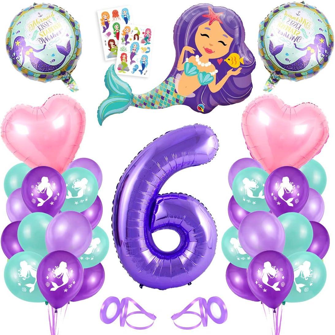 6er Cumpleaños Globos,Globos 6 Años Sirena,6 año Niña Cumpleaños,Sirena Numero 6 Globos,Sirena Niña 6 Año,Morado Globo Número 6,Sirena Globos 6 año Cumpleãnos Niña Fiesta Party Decoración