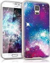 kwmobile Funda Compatible con Samsung Galaxy S5 / S5 Neo - Carcasa de TPU y galáctico en Multicolor/Rosa Fucsia/Negro